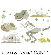 Cartoon Of Dinosaur Design Elements Royalty Free Vector Clipart by BNP Design Studio