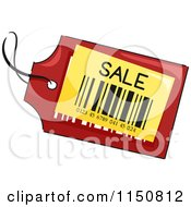 Cartoon Of A Red And Yellow Sale Price Tag Royalty Free Vector Clipart