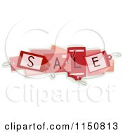 Cartoon Of A Cluster Of Red SALE Tags Royalty Free Vector Clipart