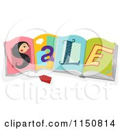 Cartoon Of A Tag And Womans Face S Spelling SALE On Open Books Royalty Free Vector Clipart by BNP Design Studio