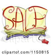 Cartoon Of A Price Tag And Open Bok With SALE On The Pages Royalty Free Vector Clipart by BNP Design Studio
