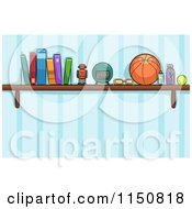 Cartoon Of A Shelf Of Toys And Books In A Boys Room Royalty Free Vector Clipart by BNP Design Studio