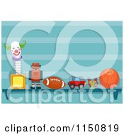 Cartoon Of A Shelf Of Toys In A Boys Room Royalty Free Vector Clipart by BNP Design Studio