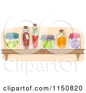 Cartoon Of A Shelf Of Preserved Foods In A Pantry Royalty Free Vector Clipart by BNP Design Studio