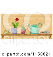 Cartoon Of A Shelf Of Garden Tools And Plants Royalty Free Vector Clipart