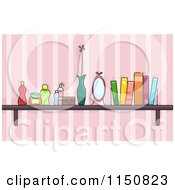 Cartoon Of A Shelf Of Books And Beauty Products In A Girls Room Royalty Free Vector Clipart by BNP Design Studio
