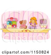 Cartoon Of A Shelf Of Toys In A Girls Room Royalty Free Vector Clipart