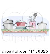 Cartoon Of A Shelf Of Pots And Pans In A Kitchen Royalty Free Vector Clipart by BNP Design Studio