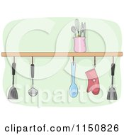 Cartoon Of A Shelf Of Kitchen Utensils Royalty Free Vector Clipart by BNP Design Studio