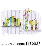Cartoon Of A Shelf Of Books Vases And A Clock In A Living Room Royalty Free Vector Clipart by BNP Design Studio