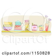 Cartoon Of A Shelf Of Cups And Sugar In A Kitchen Royalty Free Vector Clipart by BNP Design Studio