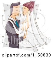 Cartoon Of A Romantic Bride And Group Going In For A Kiss Royalty Free Vector Clipart