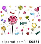 Cartoon Of A Background Of Candies Royalty Free Vector Clipart by BNP Design Studio