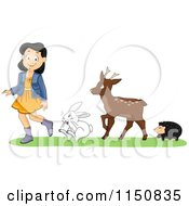 Cartoon Of A Hedgehog Deer And Rabbit Following A Girl Royalty Free Vector Clipart by BNP Design Studio