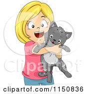 Cartoon Of A Happy Blond Girl Hugging Her Cat Royalty Free Vector Clipart