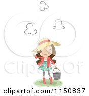 Cartoon Of A Happy Country Girl Touching Her Hat And Carrying A Bucket Royalty Free Vector Clipart
