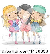 Cartoon Of A Happy Trio Of Girls Royalty Free Vector Clipart