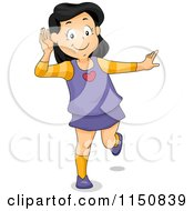 Cartoon Of A Girl Covering Her Ear And Listening Royalty Free Vector Clipart