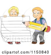 Cartoon Of A Boy Holding Up Ruled Paper And Another Boy Holding A Pencil Royalty Free Vector Clipart