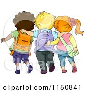 Cartoon Of A Rear View Of Three School Children Walking With Their Arms Around Each Other Royalty Free Vector Clipart