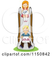 Cartoon Of A Boy And Girl On A Slide With Up And Down Signs Royalty Free Vector Clipart