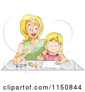 Cartoon Of A Mother Helping Her Daughter How To Write A Letter Royalty Free Vector Clipart