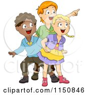 Cartoon Of Excited Children Looking At Something Royalty Free Vector Clipart