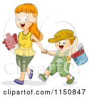 Cartoon Of A Happy Boy And Girl Gardening Royalty Free Vector Clipart