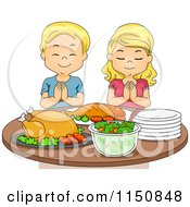 Cartoon Of A Blond Boy And Girl Praying Before A Feast Royalty Free Vector Clipart