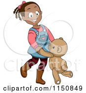 Cartoon Of A Happy Black Girl Dancing With A Teddy Bear Royalty Free Vector Clipart