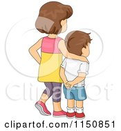 Cartoon Of A Brunette Big Sister And Little Brother Gazing Away Royalty Free Vector Clipart