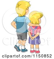 Cartoon Of A Blond Big Brother And Little Sister Facing Away Royalty Free Vector Clipart