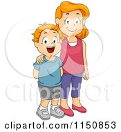 Cartoon Of A Happy Big Sister And Little Brother Smiling Royalty Free Vector Clipart