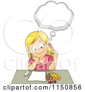 Cartoon Of A Girl Thinking About What To Color Royalty Free Vector Clipart