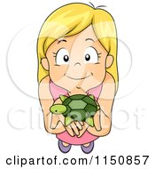 Cartoon Of A Happy Blond Girl Holding Up Her Pet Turtle Royalty Free Vector Clipart by BNP Design Studio