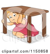 Cartoon Of A Scared Girl Hiding Under A Table During An Earthquake Royalty Free Vector Clipart