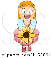 Cartoon Of A Happy Red Haired Girl Offering A Sunflower Royalty Free Vector Clipart by BNP Design Studio