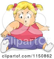 Cartoon Of A Chubby Blond Girl Trying To Reach Her Toes Royalty Free Vector Clipart