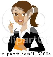Cartoon Of A Hispanic Businesswoman With A Pen And Notepad Royalty Free Vector Clipart