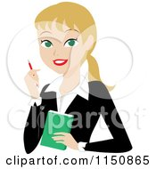 Cartoon Of A Blond Businesswoman With A Pen And Notepad Royalty Free Vector Clipart