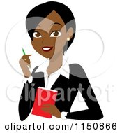 Cartoon Of A Black Or Indian Businesswoman With A Pen And Notepad Royalty Free Vector Clipart