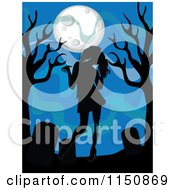 Cartoon Of A Silhouetted Zombie Girl Tombstones And Trees Under A Full Moon Royalty Free Vector Clipart