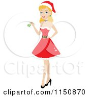 Cartoon Of A Blond Christmas Woman Wearing A Santa Dress And Holding Mistletoe Royalty Free Vector Clipart