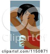 Cartoon Of A Black Woman Applying Underarm Deodorant Royalty Free Vector Clipart