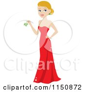 Blond Christmas Woman Wearing A Red Gown And Holding Mistletoe