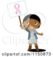 Cartoon Of A Black Or Indian Girl Holding Up A Breast Cancer Awareness Sign Royalty Free Vector Clipart by Rosie Piter