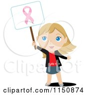 Cartoon Of A Blond Girl Holding Up A Breast Cancer Awareness Sign Royalty Free Vector Clipart