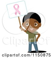 Cartoon Of A Black Boy Holding Up A Breast Cancer Awareness Sign Royalty Free Vector Clipart by Rosie Piter