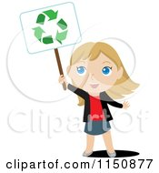 Cartoon Of A Blond Girl Holding Up A Recycle Sign Royalty Free Vector Clipart