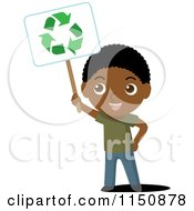 Cartoon Of A Black Boy Holding Up A Recycle Sign Royalty Free Vector Clipart